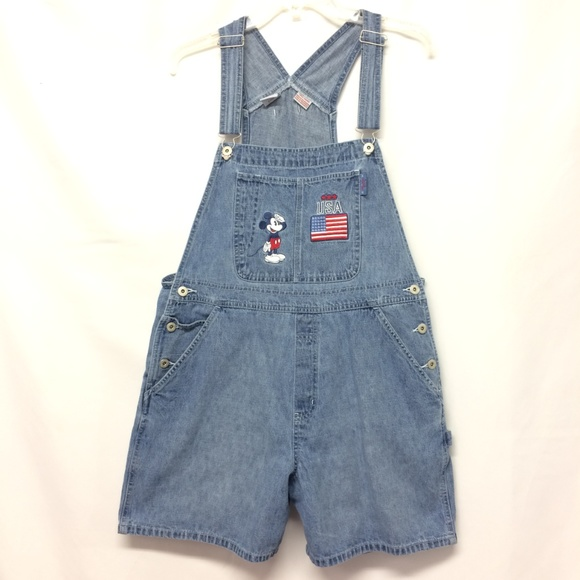 00be19dd0a1 Disney Womens L Mickey Mouse Overall Denim Shorts